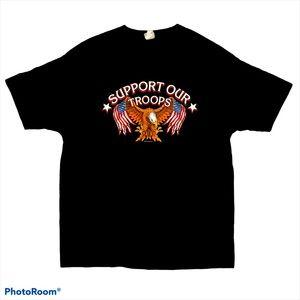 Y2k support our troops black t shirt eagle flag